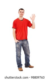 Young man greeting and saying Hi, isolated on white.