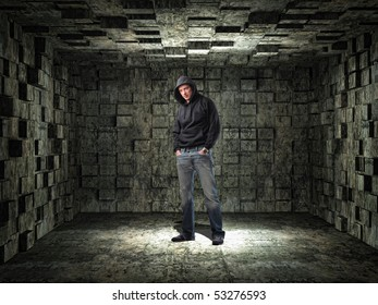 young man and grunge 3d  background