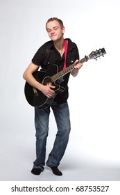 young man with a guitar, on white background