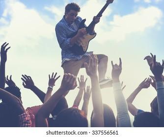 Young Man Guitar Performing Concert Concept