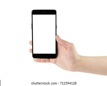 young man hand holding smartphone isolated on white
