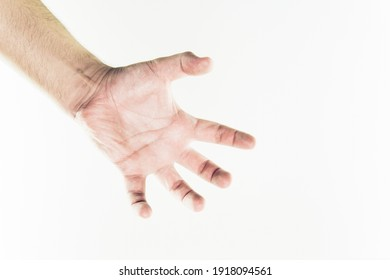 Young man hand isolated on white background