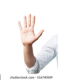 young man hand stop sign