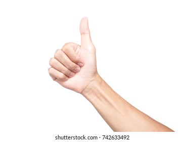 Young man hand thumbs up for good feeling with white background