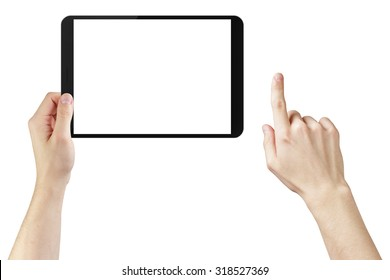 young man hands using tablet pc with blank screen, isolated on white