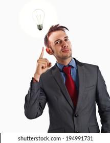 Young man having a good idea
