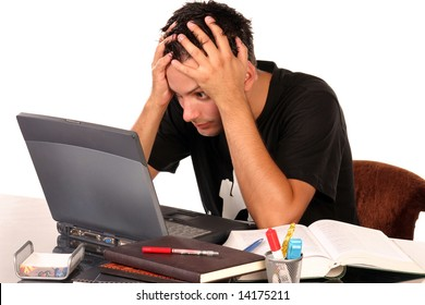 Young man having trouble studying, on white background