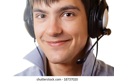 Young man in headphones against white background