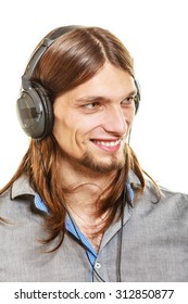 Young man with headphones listening to music. Guy relaxing enjoying. People relax leisure pleasure concept. Isolated on white background.