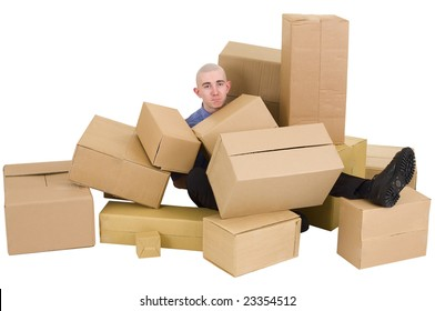 The young man is heap up by carton boxes