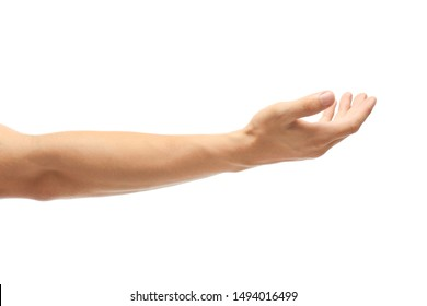 Young man held out hand on white background, closeup
