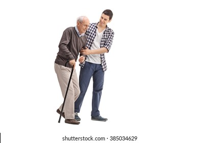 Young man helping a senior gentleman with a cane isolated on white background
