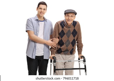 Young man helping a senior with a walker isolated on white background