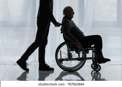 Young man helping senior man in wheelchair