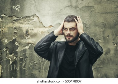 Young Man Hipster Beard Mustache Looks Stock Photo (Edit Now