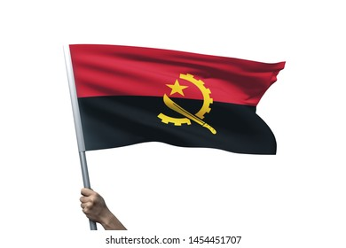 Young man holding Angola Flag in White Background, Flag of Angola.