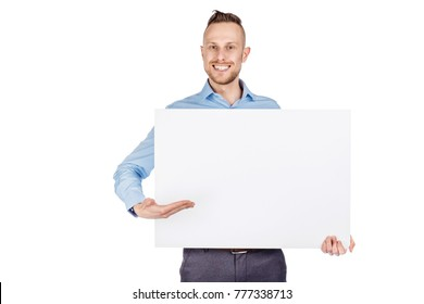 young man holding black panel with space for text on white background.