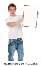 A young man holding a blank board for you to put adverts on
