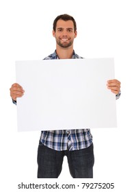Young man holding blank sign. All on white background.