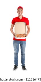 Young man holding box with tasty pizza on white background. Food delivery service