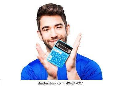 young man holding calculator
