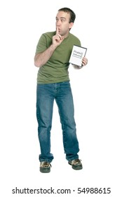 A young man holding a dvd case with pirated computer software in it and telling someone to shhh, isolated against a white background.