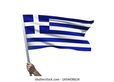 Young man holding Greece Flag in White Background, Flag of Greece.