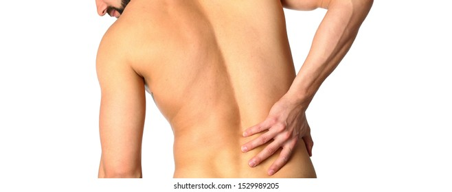 Young man holding his neck in pain. Medical concept