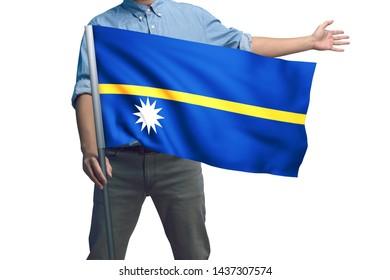 Young man holding Nauru Flag in White Background, Flag of Nauru.
