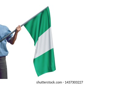 Young man holding Nigeria Flag in White Background, Flag of Nigeria.