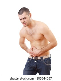 Young man holding painful stomach isolated on white background