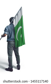 Young man holding Pakistan Flag in White Background, Flag of Pakistan