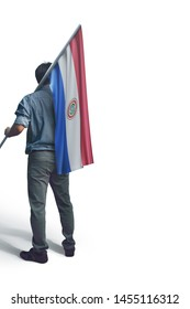 Young man holding Paraguay Flag in White Background, Flag of Paraguay
