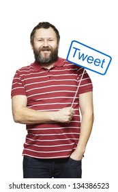 Young man holding a social media sign smiling on white background