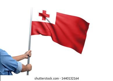 Young man holding Tonga Flag in White Background, Flag of Tonga.