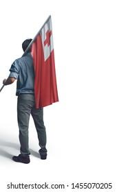 Young man holding Tonga Flag in White Background, Flag of Tonga