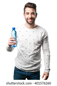 young man holding water bottle