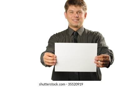 Young the man holds blank signs. It is isolated on a white background