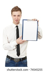 young man holds a clipboard isolated on white