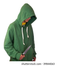 A young man in a hoodie holding a knife symbolising youth crime
