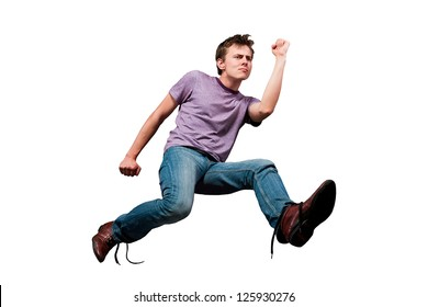 young man in jeans run away isolated white