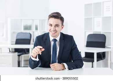 Young man is joking during his job interview