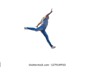 young man jumping isolated on white background
