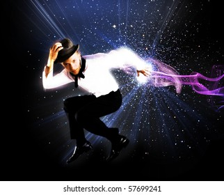 Young man jumping on abstract background