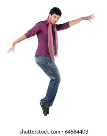 Young man jumping on the white background