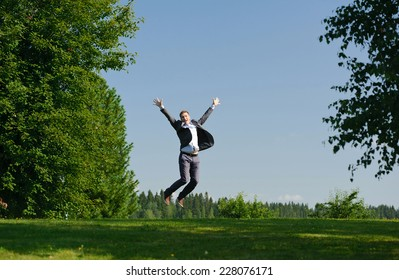 Young man jumping outside