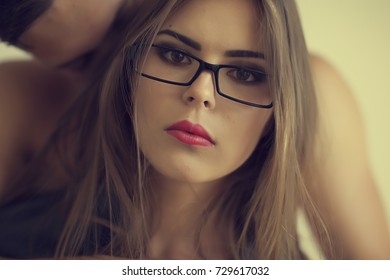 Young man kiss Wounderful womam in glases