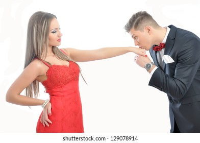 Young  man kissing his girlfriend hand