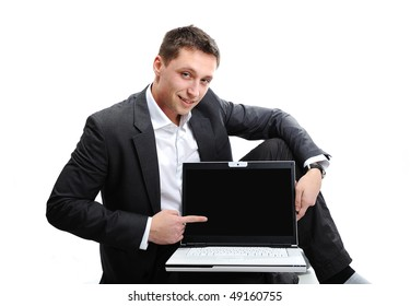 Young man with laptop, great for your banner, idea, concept, picture or text