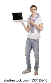 A young man with a laptop, isolated on white background